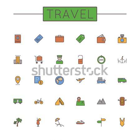 Vector Colored Camping Line Icons Stock photo © dashadima