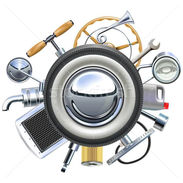 Vector Retro Car Parts Concept Stock photo © dashadima