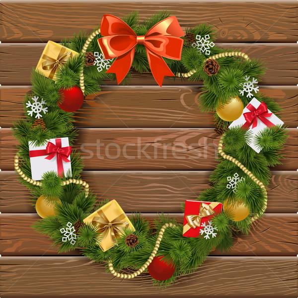 Vektor karácsony koszorú fa deszka piros íj Stock fotó © dashadima