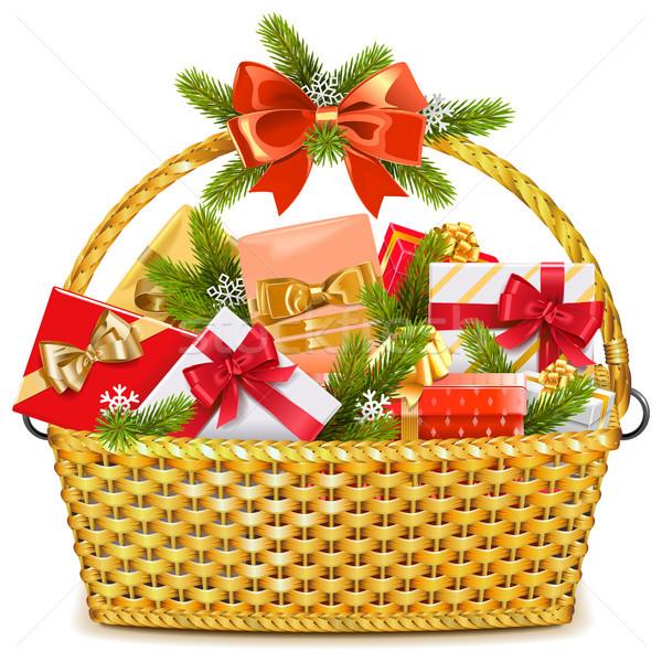 Vector Basket with Christmas Gifts Stock photo © dashadima
