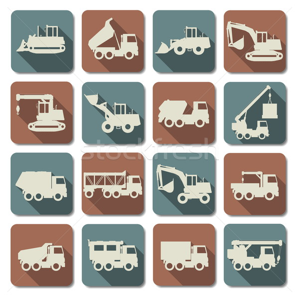 Vector Construction Machines Flat Icons Stock photo © dashadima