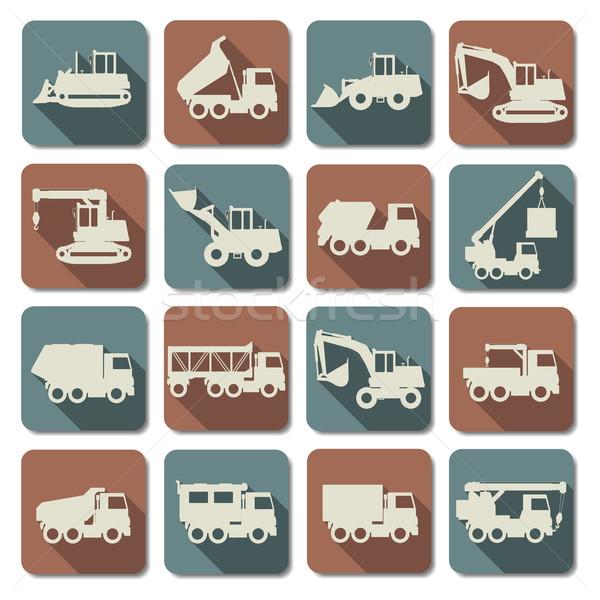 Vetor construção ícones carro caminhão Foto stock © dashadima