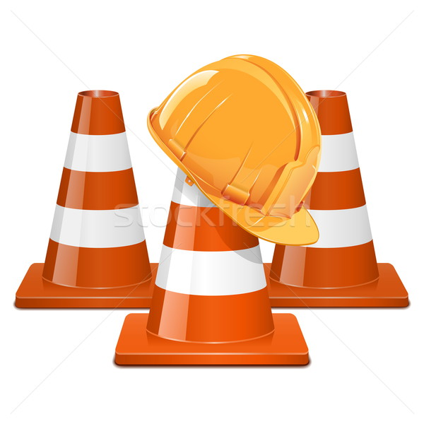Vector Cones with Helmet Stock photo © dashadima