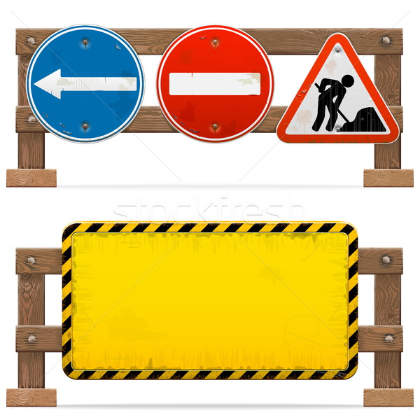 Vector Barriers with Road Signs Stock photo © dashadima