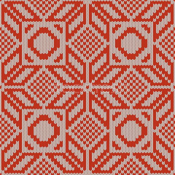 Vettore inverno maglia pattern sfondo frame Foto d'archivio © dashadima
