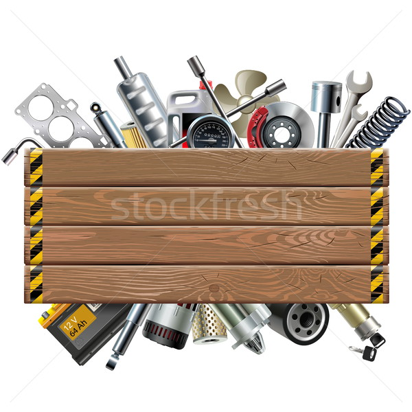 Vector Wooden Board with Car Spares Stock photo © dashadima