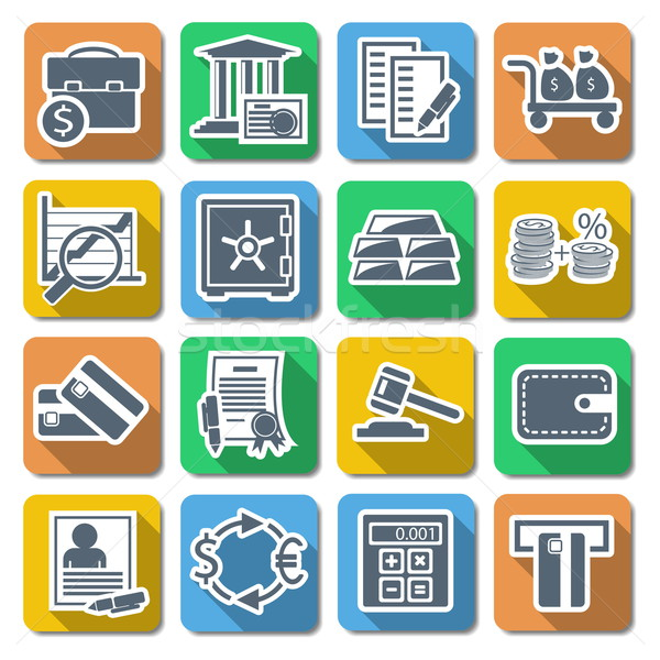 Vector Bank Flat Icons Stock photo © dashadima