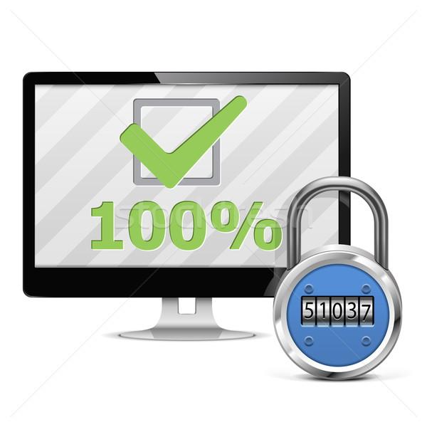 Wektora komputera bezpieczeństwa bezpieczeństwa pomoc wsparcia Zdjęcia stock © dashadima