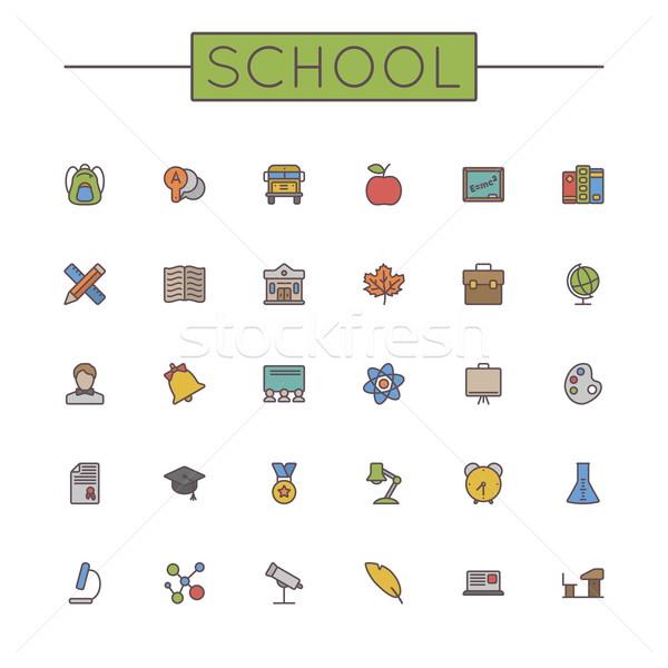 Stock fotó: Vektor · színes · iskola · vonal · ikonok · izolált