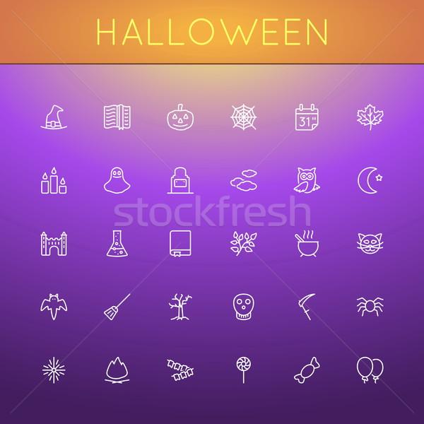Vector Halloween Line Icons Stock photo © dashadima