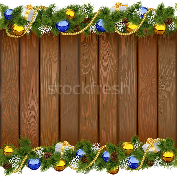 Vector Seamless Christmas Board with Golden Beads Stock photo © dashadima