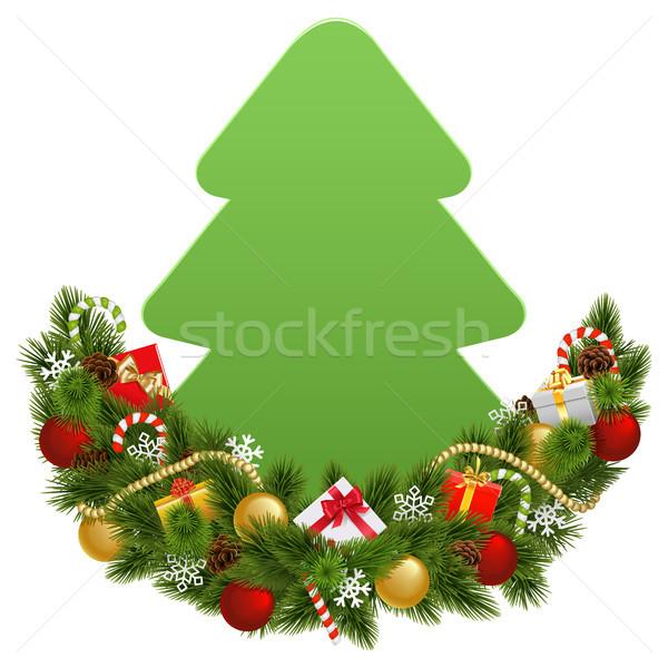 Photo stock: Vecteur · Noël · décoration · papier · isolé