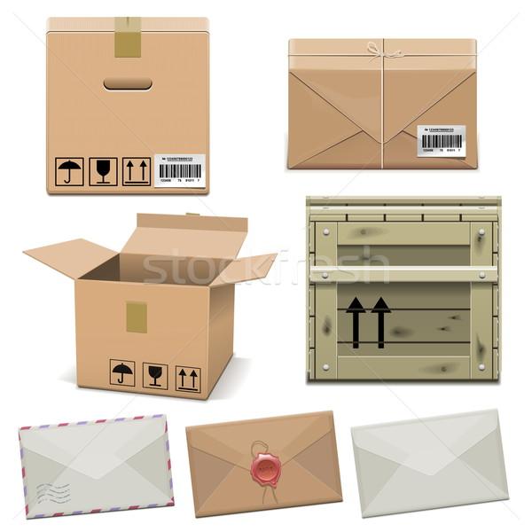 Vector paquete iconos aislado blanco papel Foto stock © dashadima