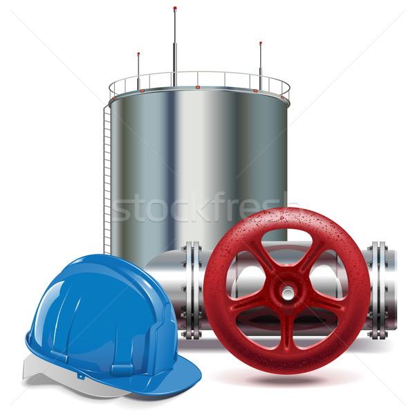 Vector olie-industrie geïsoleerd witte industrie Rood Stockfoto © dashadima