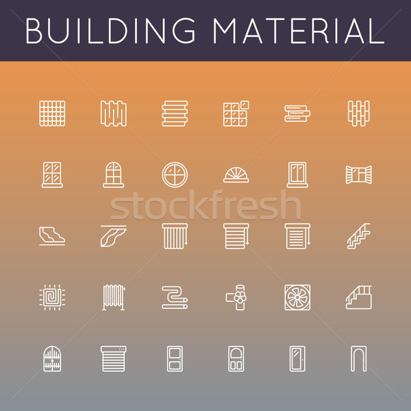 Vector Building Material Line Icons Stock photo © dashadima