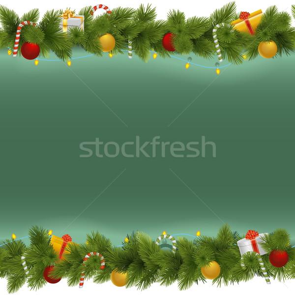 вектора зеленый Рождества гирлянда изолированный белый Сток-фото © dashadima