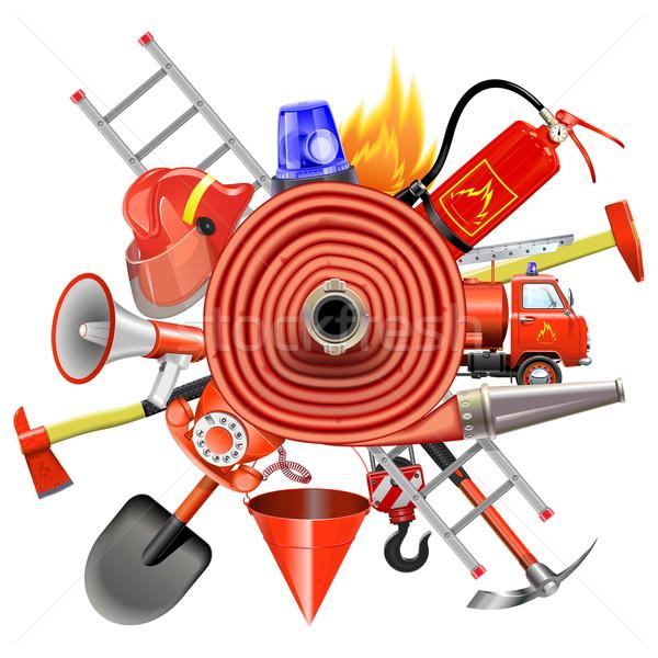Vektor tűz megelőzés izolált fehér telefon Stock fotó © dashadima