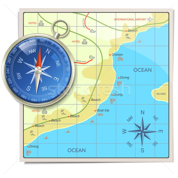 Vector Beach Map with Compass Stock photo © dashadima