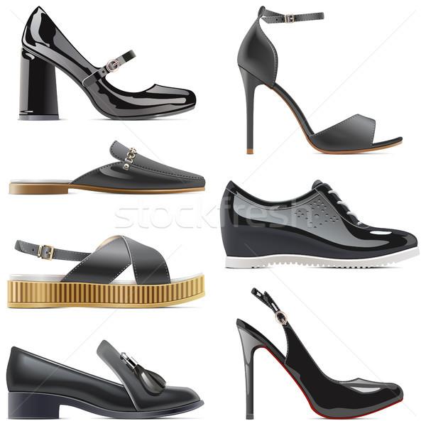 Wektora czarny buty odizolowany biały kobiet Zdjęcia stock © dashadima