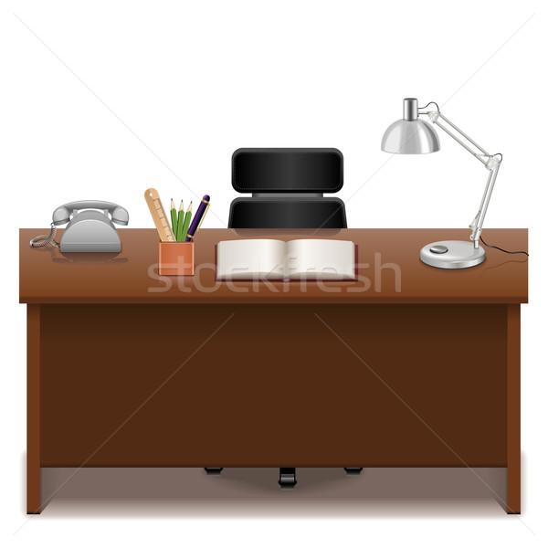 Vettore ufficio tavola isolato bianco business Foto d'archivio © dashadima