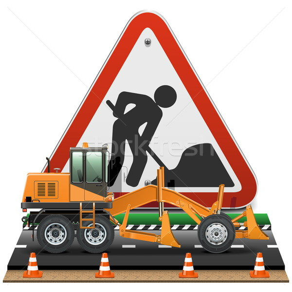 Vector Road Construction Concept with Sign Stock photo © dashadima