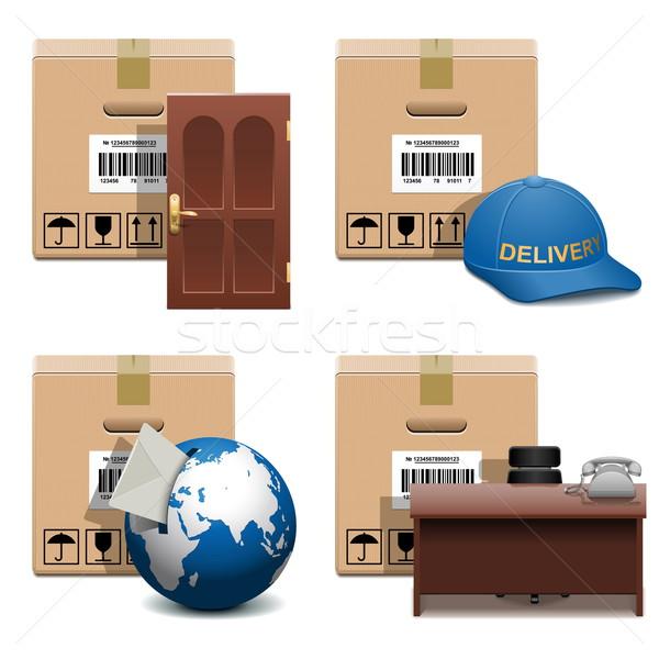 Vektor szállítmány ikon szett izolált fehér iroda Stock fotó © dashadima