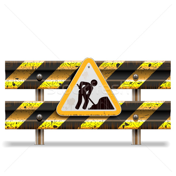 Vector Old Striped Barrier with Sign Stock photo © dashadima