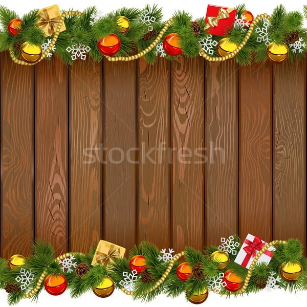 ベクトル シームレス クリスマス 木板 孤立した 白 ストックフォト © dashadima