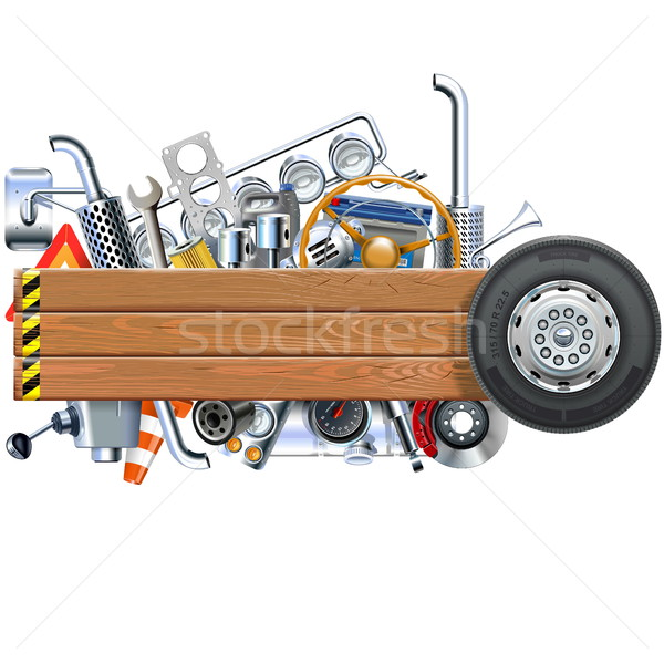 Vector Wooden Board with Truck Spares Stock photo © dashadima