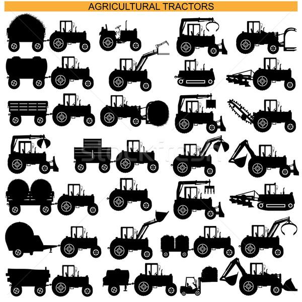 Wektora rolniczy ciągnika piktogramy odizolowany biały Zdjęcia stock © dashadima