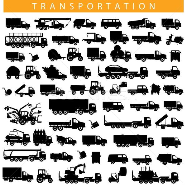 Vector transporte pictograma aislado blanco camión Foto stock © dashadima