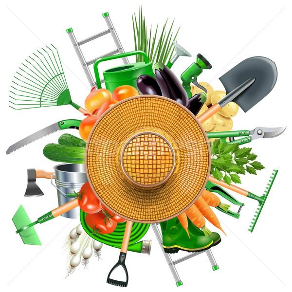 Vector Garden Accessories with Sun Hat Stock photo © dashadima