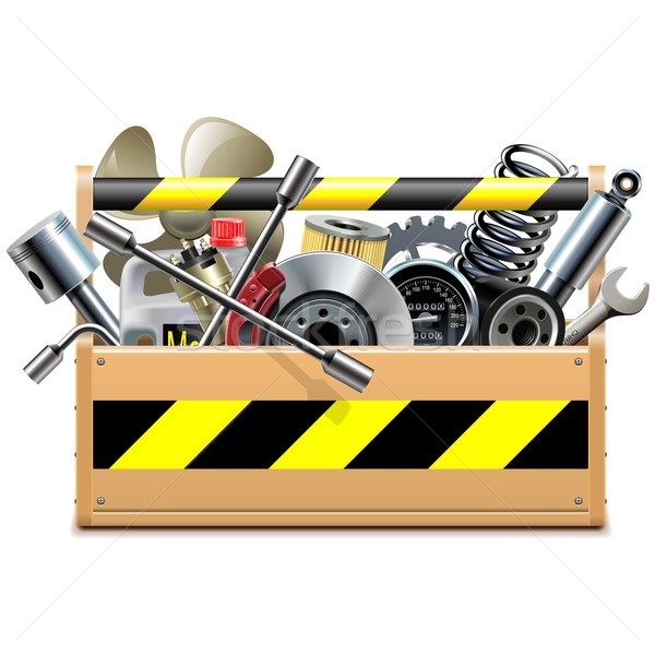 Vector Toolbox with Car Spares Stock photo © dashadima