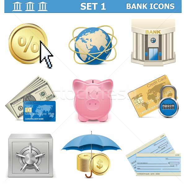 Vector Bank Icons Set 1 Stock photo © dashadima