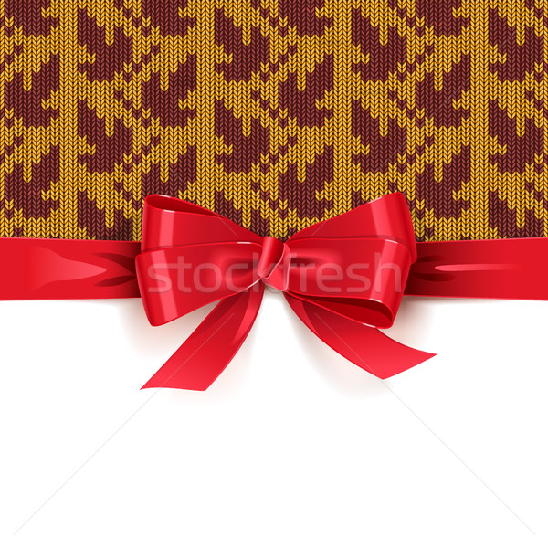 Vector Gift Bow with Autumn Knitted Pattern 2 Stock photo © dashadima