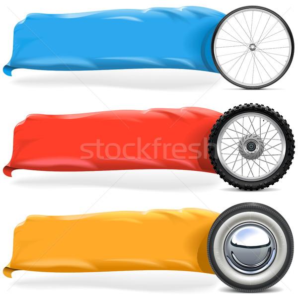 Vector Wheels with Banner Set 2 Stock photo © dashadima