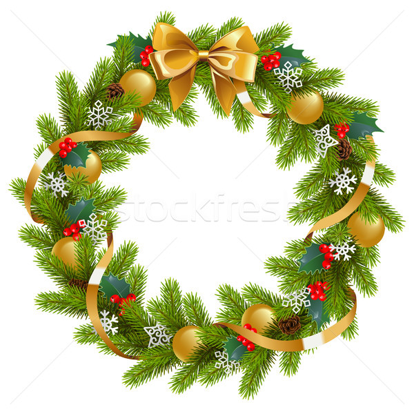 Vector Fir Wreath with Mistletoe Stock photo © dashadima