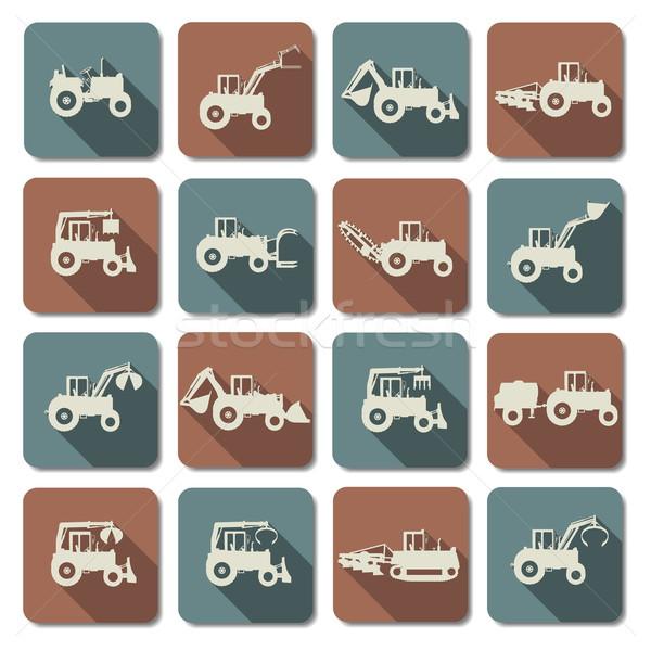 вектора трактора иконки изолированный белый грузовика Сток-фото © dashadima