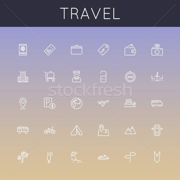 Vektor utazás vonal ikonok izolált színek Stock fotó © dashadima