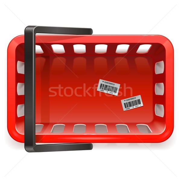 Vektor bevásárlókosár izolált fehér piros szolgáltatás Stock fotó © dashadima
