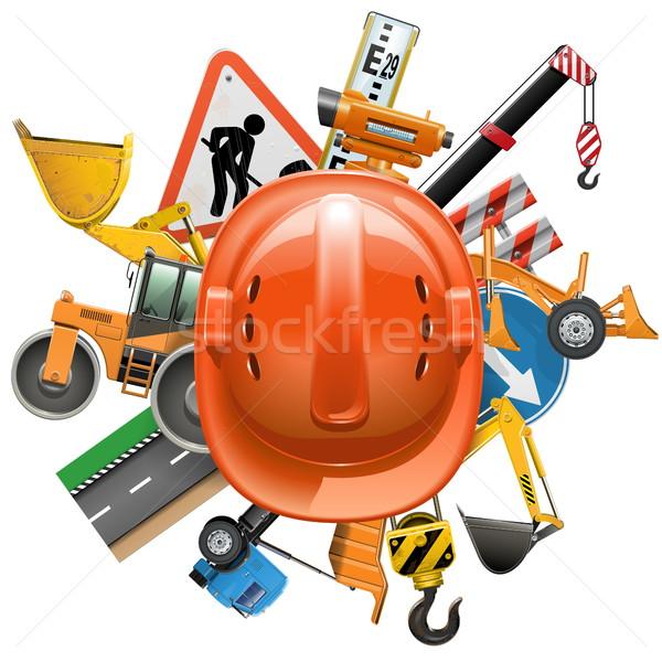Vector wegenbouw helm geïsoleerd witte bouw Stockfoto © dashadima