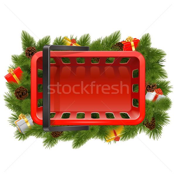 Vektor bevásárlókosár karácsony díszítések izolált fehér Stock fotó © dashadima