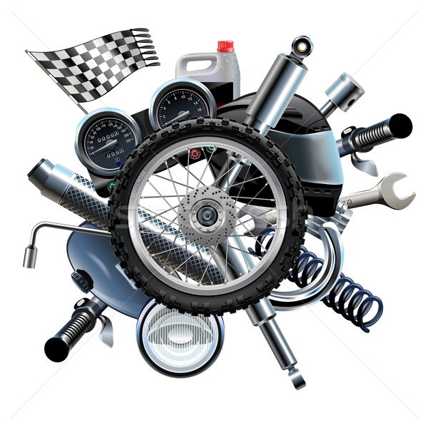 Vector Motorcycle Spares with Wheel Stock photo © dashadima