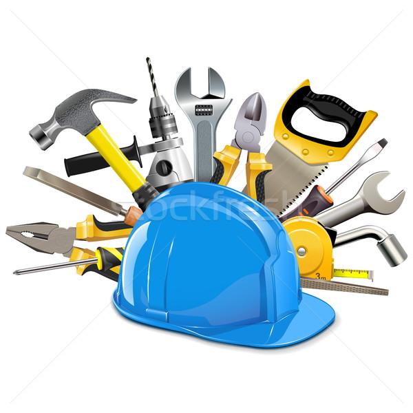 Vector bouw helm geïsoleerd witte industrie Stockfoto © dashadima