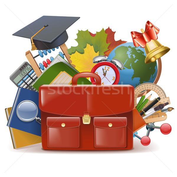 Vector School Concept with Briefcase Stock photo © dashadima