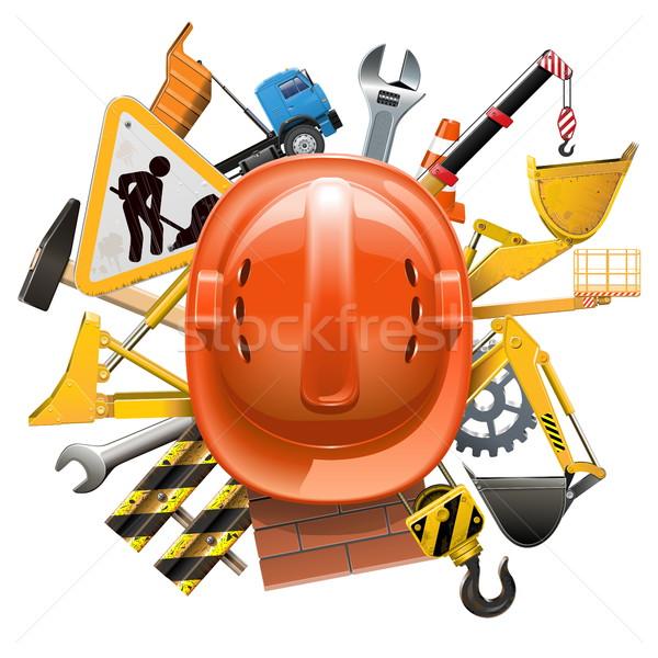 Vector Construction Concept with Helmet Stock photo © dashadima