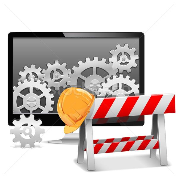 Vetor reparação de computadores negócio construção monitor ajudar Foto stock © dashadima