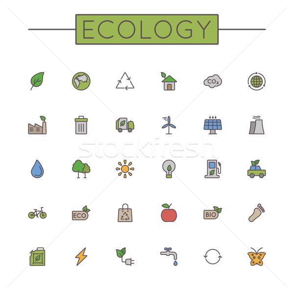 Vector Colored Ecology Line Icons Stock photo © dashadima