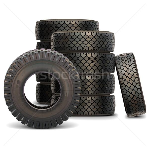 Foto stock: Vector · edad · camión · neumático · establecer · aislado