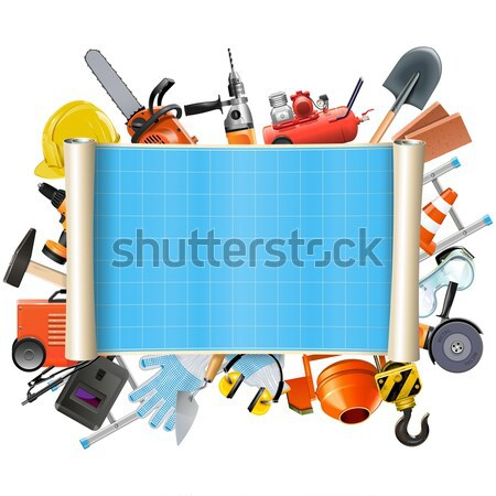 Vector Construction Rusty Frame with Tools Stock photo © dashadima